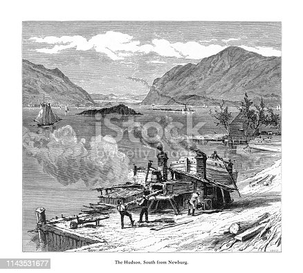 Very Rare, Beautifully Illustrated Antique Engraving of Hudson River from Newburg, New York, United States, American Victorian Engraving, 1872.
