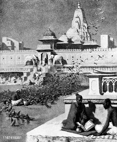 Huge flock of pigeons and people at the square in front of Kalki Mandir in Jaipur, India during the British Raj era (circa late 19th century). Vintage etching circa late 19th century.