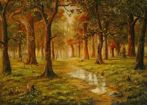The man can not find mushrooms, because they huge. Painting.The picture is written by me in 2004. A canvas, oil.