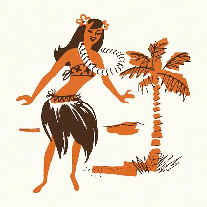 Hula Dancer and Palm Tree