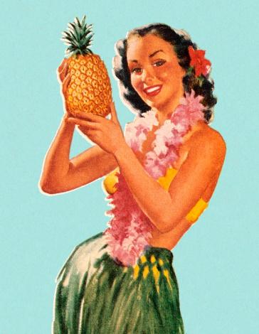Hula Girl Holding Pineapple