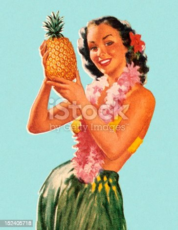 Hula Girl Holding Pineapple