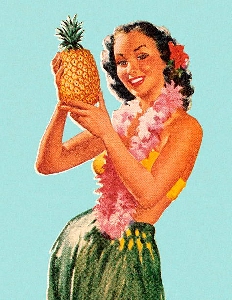 Hula Girl Holding Pineapple Hula Girl Holding Pineapple hawaiian culture stock illustrations