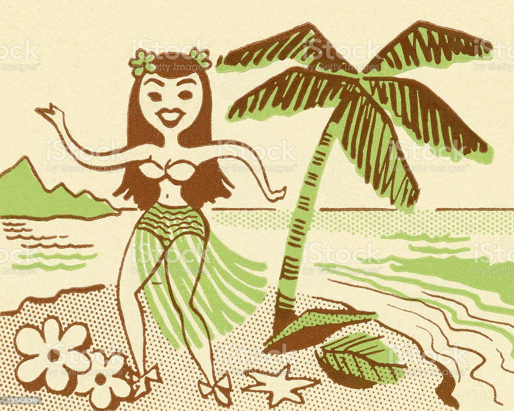 Hula Girl Next to Palm Tree royalty-free stock vector art