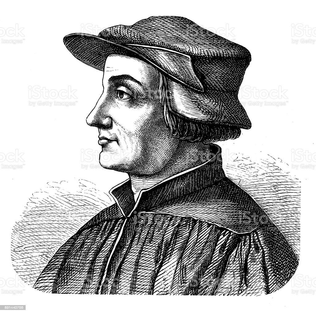 Huldrych Zwingli (1484-1531), Zurich protestant reformer vector art illustration