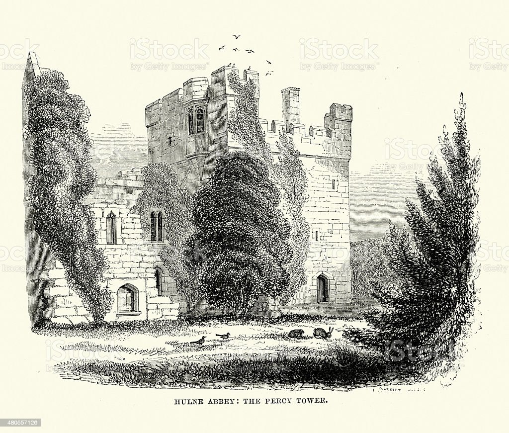 Hulne Priory The Percy Tower vector art illustration