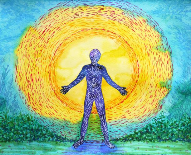human and higher power, abstract watercolor painting, 7 chakra yoga reiki - духовность stock illustrations