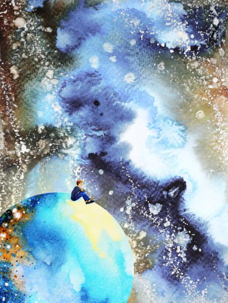 bildbanksillustrationer, clip art samt tecknat material och ikoner med mänskliga och ande kraftfull energi ansluta sinne universum power abstrakt konst akvarell målning illustration design hand ritning - earth from space