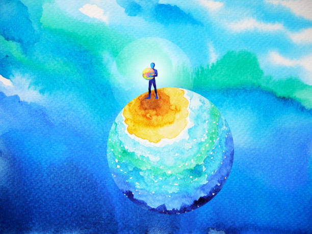 human and spirit powerful energy connect to the universe power abstract art watercolor painting illustration design hand drawn - духовность stock illustrations