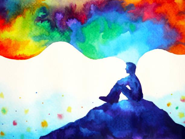 insan ve ruh güçlü enerji bağlanmak için evren güç sanat suluboya resim illüstrasyon tasarım elle çizilmiş - mindfulness stock illustrations
