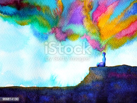 istock human and spirit powerful energy connect to the universe power abstract art watercolor painting illustration design hand drawn 956814130