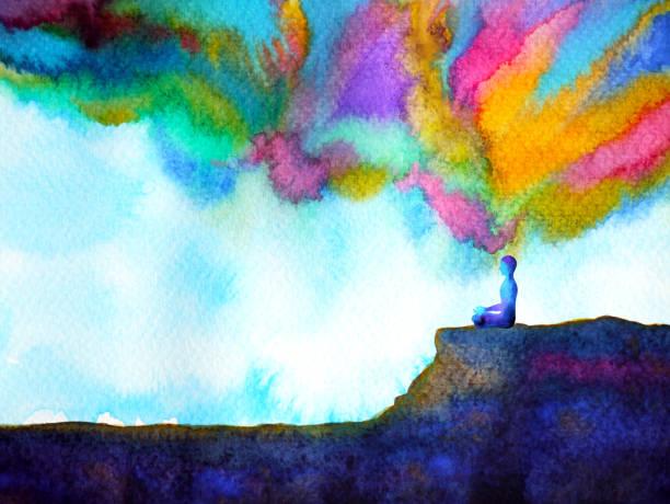 人類與精神強大的能量連接到宇宙力量抽象藝術水彩畫插畫設計手繪畫 - 精神上的 幅插畫檔、美工圖案、卡通及圖標
