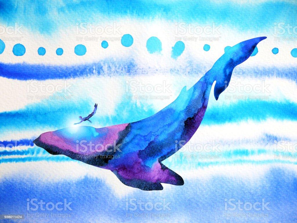Mensch Und Wal Tauchen Schwimmen Unter Wasser Zusammen Aquarell ...