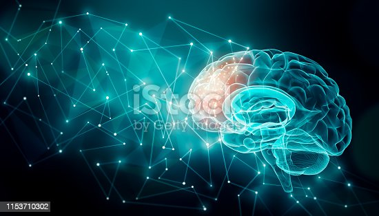 Human brain activity with plexus lines.. External cerebral connections in the frontal lobe. Communication, psychology, artificial intelligence or AI, neuronal informations or cognition concepts illustration with copy space.
