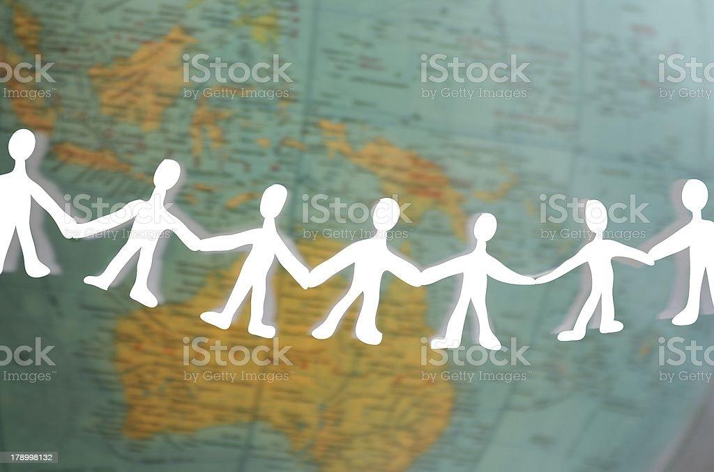 human chain around the world vector art illustration