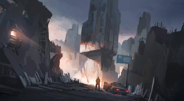 Menschliche Stadt nach dem Krieg, digitale Illustration – Vektorgrafik
