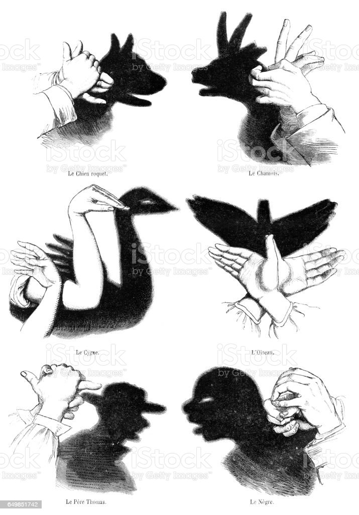 Human hands playing shadow play illustration 1861 vector art illustration