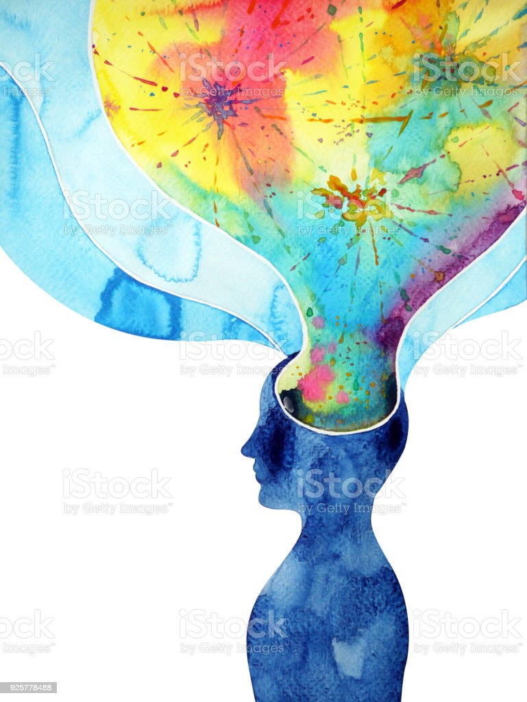 human head, chakra power, inspiration abstract thinking thought, world, universe inside your mind, watercolor painting splash vector art illustration