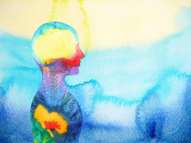 ilustrações de stock, clip art, desenhos animados e ícones de human head, chakra power, inspiration abstract thinking, world, universe inside your mind, watercolor painting - active brain