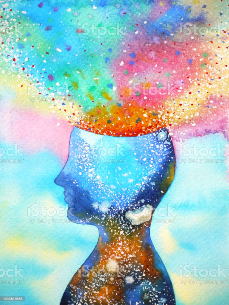 human head, chakra power, inspiration abstract thinking, world, universe inside your mind, watercolor painting vector art illustration