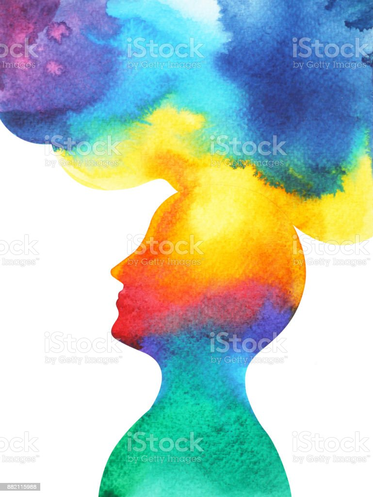 human head, chakra power, inspiration abstract thought, world, universe inside your mind, watercolor painting vector art illustration