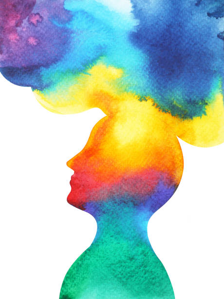 human head, chakra power, inspiration abstract thought, world, universe inside your mind, watercolor painting - imagination stock illustrations