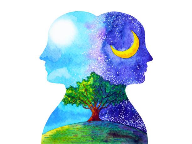 bildbanksillustrationer, clip art samt tecknat material och ikoner med mänskligt huvud chakra kraftfull inspiration dag och natt träd abstrakt tänkande akvarell målning illustration handritad - earth from space