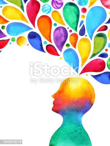 human head mind brain spirit powerful energy connect to the universe power abstract art watercolor painting illustration design hand drawn