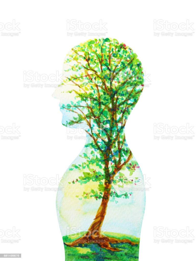 人間の頭、自然の力、抽象的な思考、世界、あなたの心は、水彩画の中の宇宙 ベクターアートイラスト