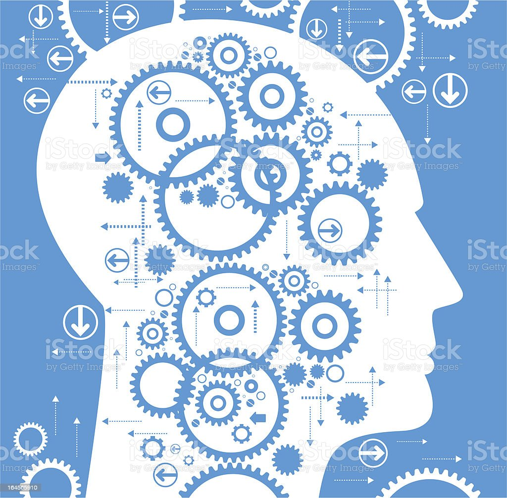 Human head with wheel vector art illustration