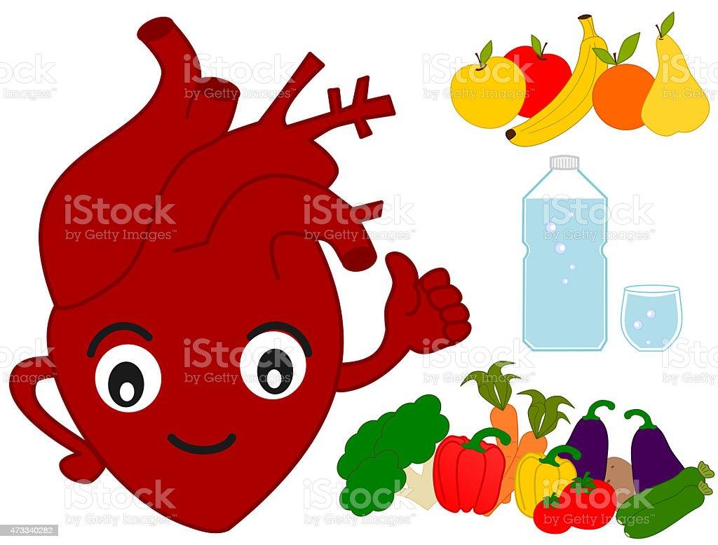 Human Heart And Healthy Food Funny Cartoon Illustration