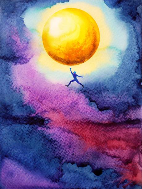 人間ジャンプ キャッチ明るい黄色 ful 月まで高い暗い空夜、夢イラスト水彩画デザイン - 希望点のイラスト素材/クリップアート素材/マンガ素材/アイコン素材