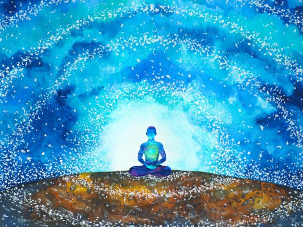 insan meditasyon zihin ruh sağlığı yoga çakra ruhsal şifa suluboya resim illüstrasyon tasarımı - mindfulness stock illustrations