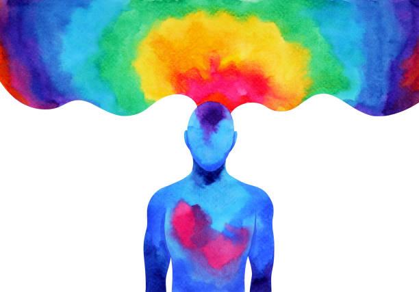 insan aklının beyin ruhu enerji bağlanmak illüstrasyon tasarım elle çizilmiş resim evren güç sanat suluboya - mindfulness stock illustrations