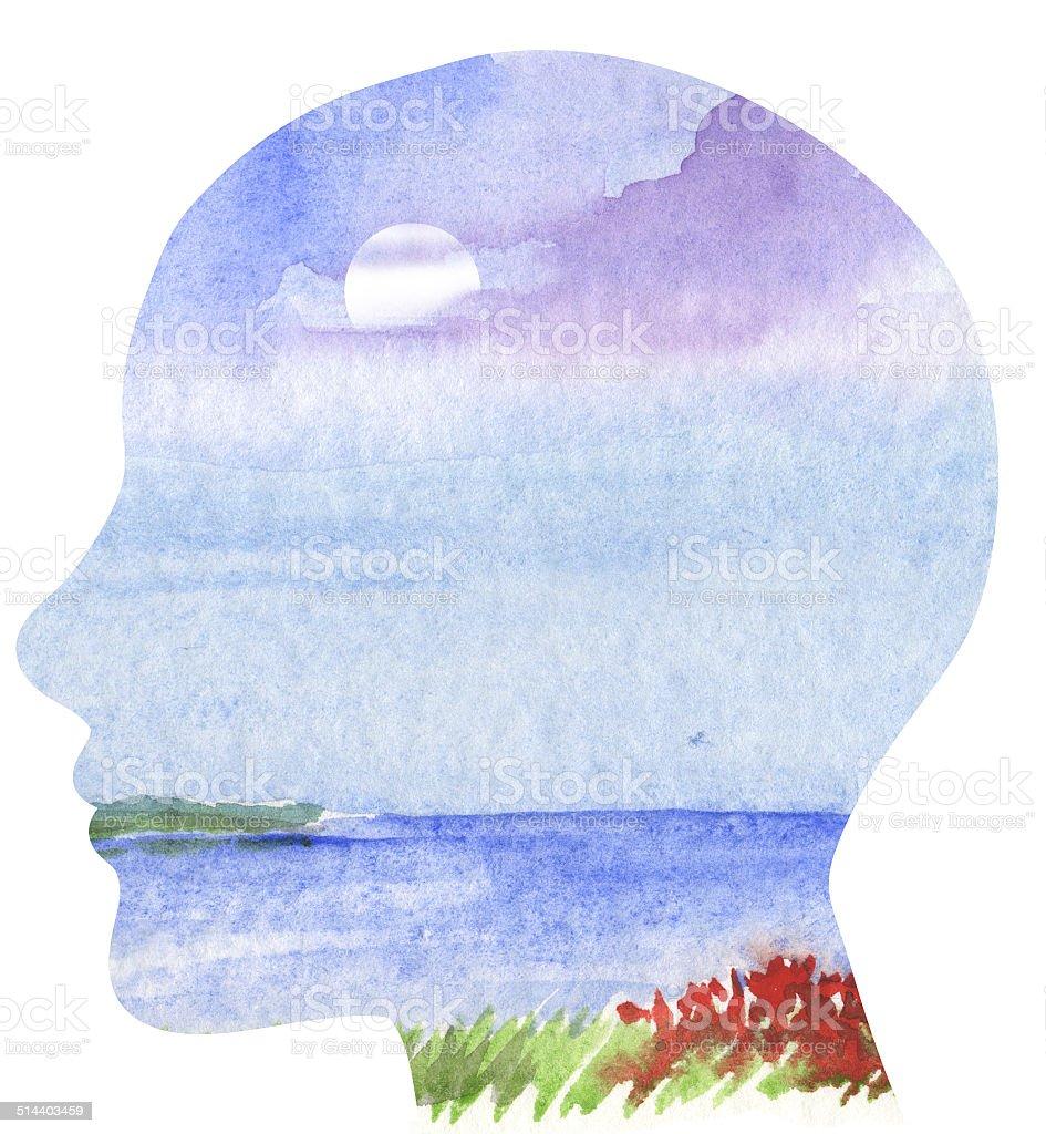 Human profile with sea landscape vector art illustration
