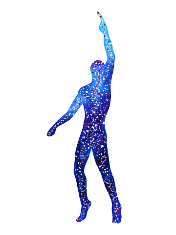 Human Raise Hand Up Power Energy Pose Abstract Universe ...