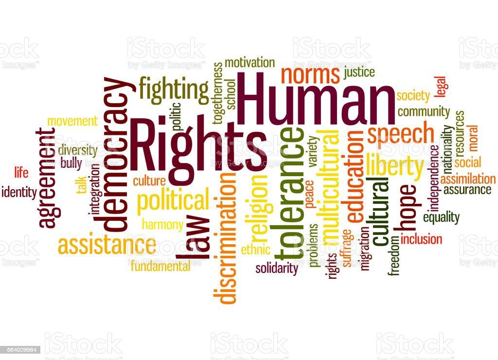 Human Rights, word cloud concept 7 vector art illustration