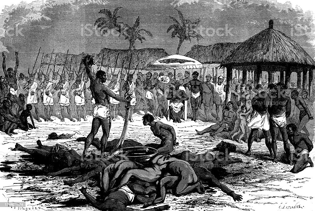 Human sacrifice african rituals vector art illustration