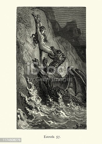 Vintage illustration from the story Orlando Furioso. Human sacrifice chained to a rock, Sea monster, fantasy. Orlando Furioso (The Frenzy of Orlando) an Italian epic poem by Ludovico Ariosto, illustrated by Gustave Dore. The story is also a chivalric romance which stemmed from a tradition beginning in the late Middle Ages.