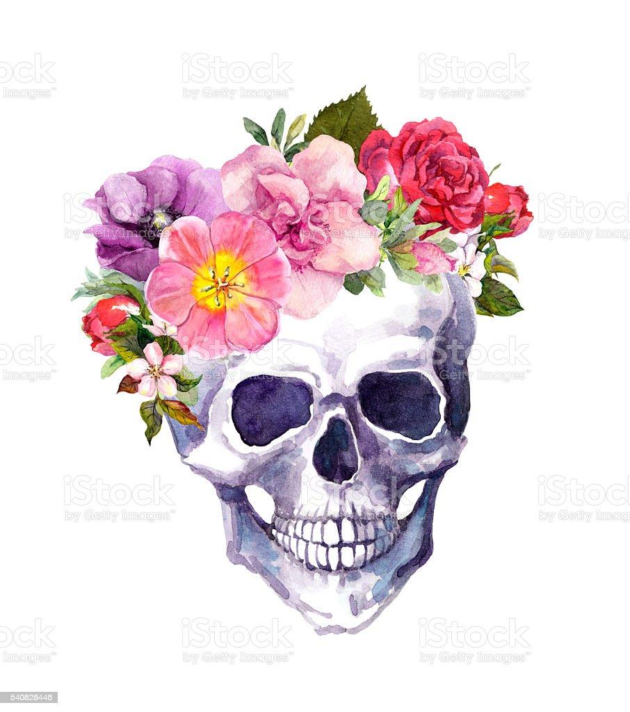 Human skull - flowers in boho style. Watercolor vector art illustration