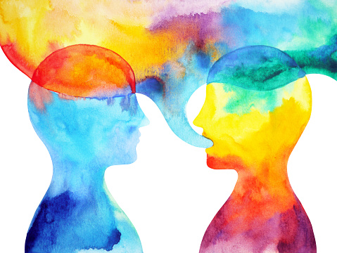 human speaking and listening power of mastermind together world universe inside your mind, watercolor painting hand drawn