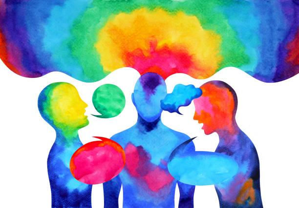 illustrazioni stock, clip art, cartoni animati e icone di tendenza di human speaking listening power of mastermind together world universe inside your mind, watercolor painting hand drawn - voce