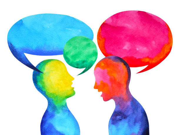 human speaking listening power of mastermind together world universe inside your mind, watercolor painting hand drawn vector art illustration