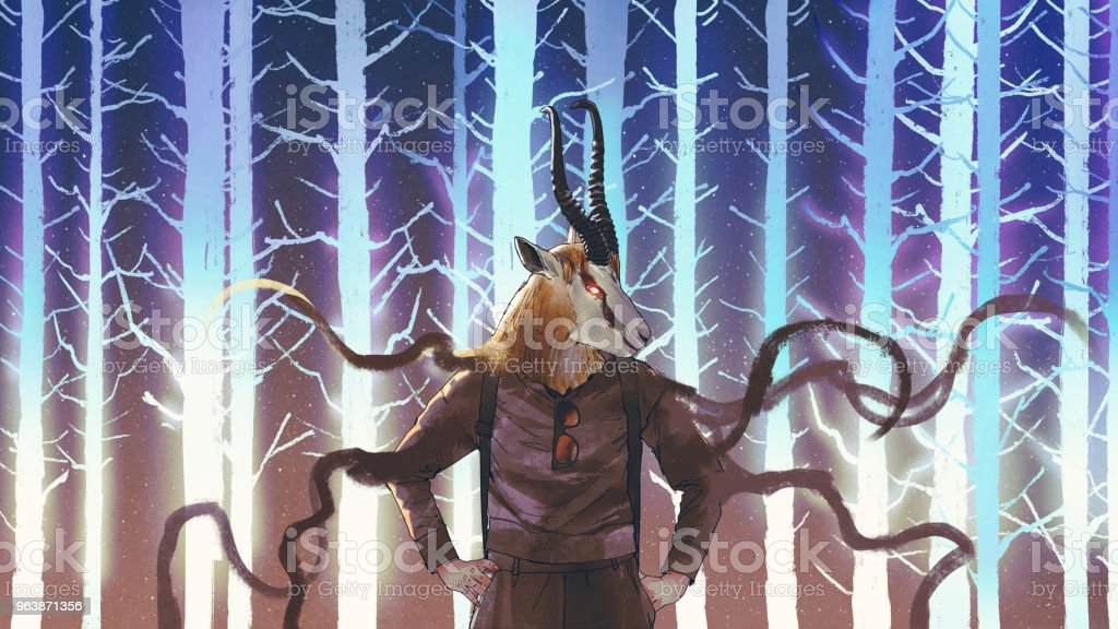 human with springbok head - Royalty-free Animal stock illustration