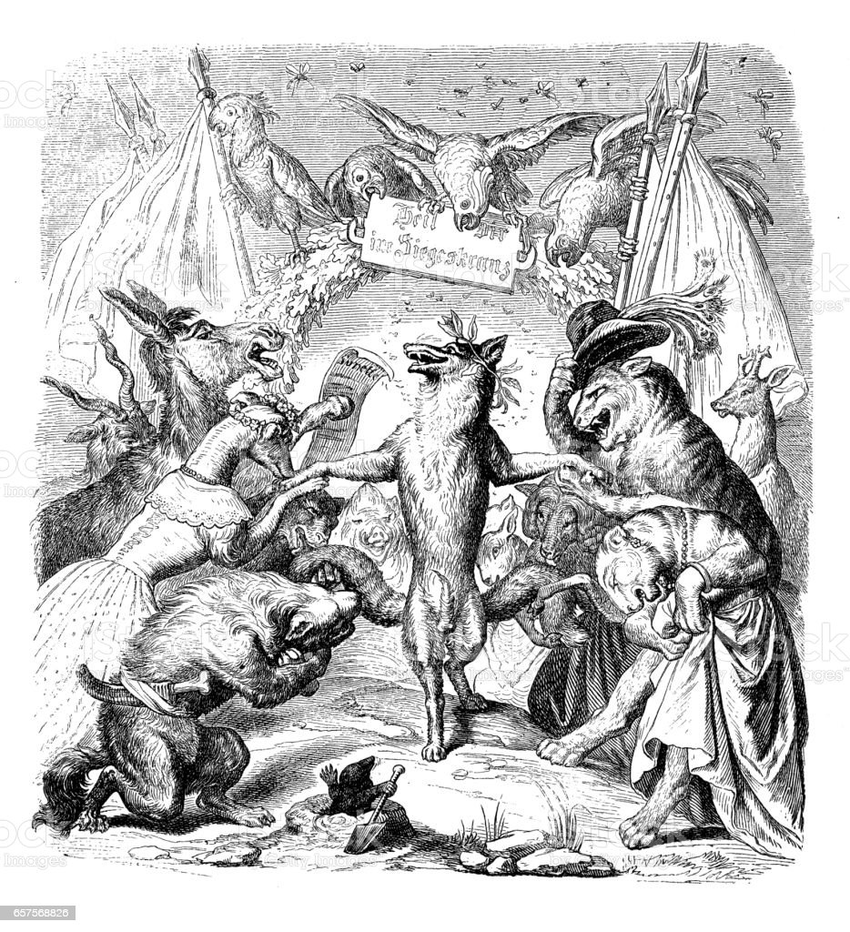 Humanized animals illustrations: Fox celebration vector art illustration