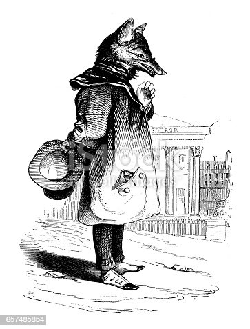 Humanized animals illustrations: Fox