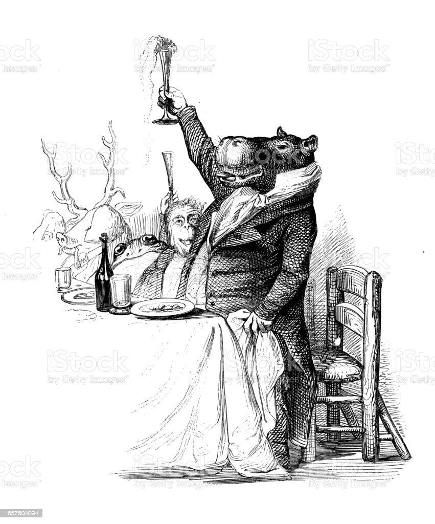 動物イラストをヒト化 カバの乾杯 19世紀のベクターアート素材や画像を