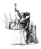 Humanized animals illustrations: Hippo toasting