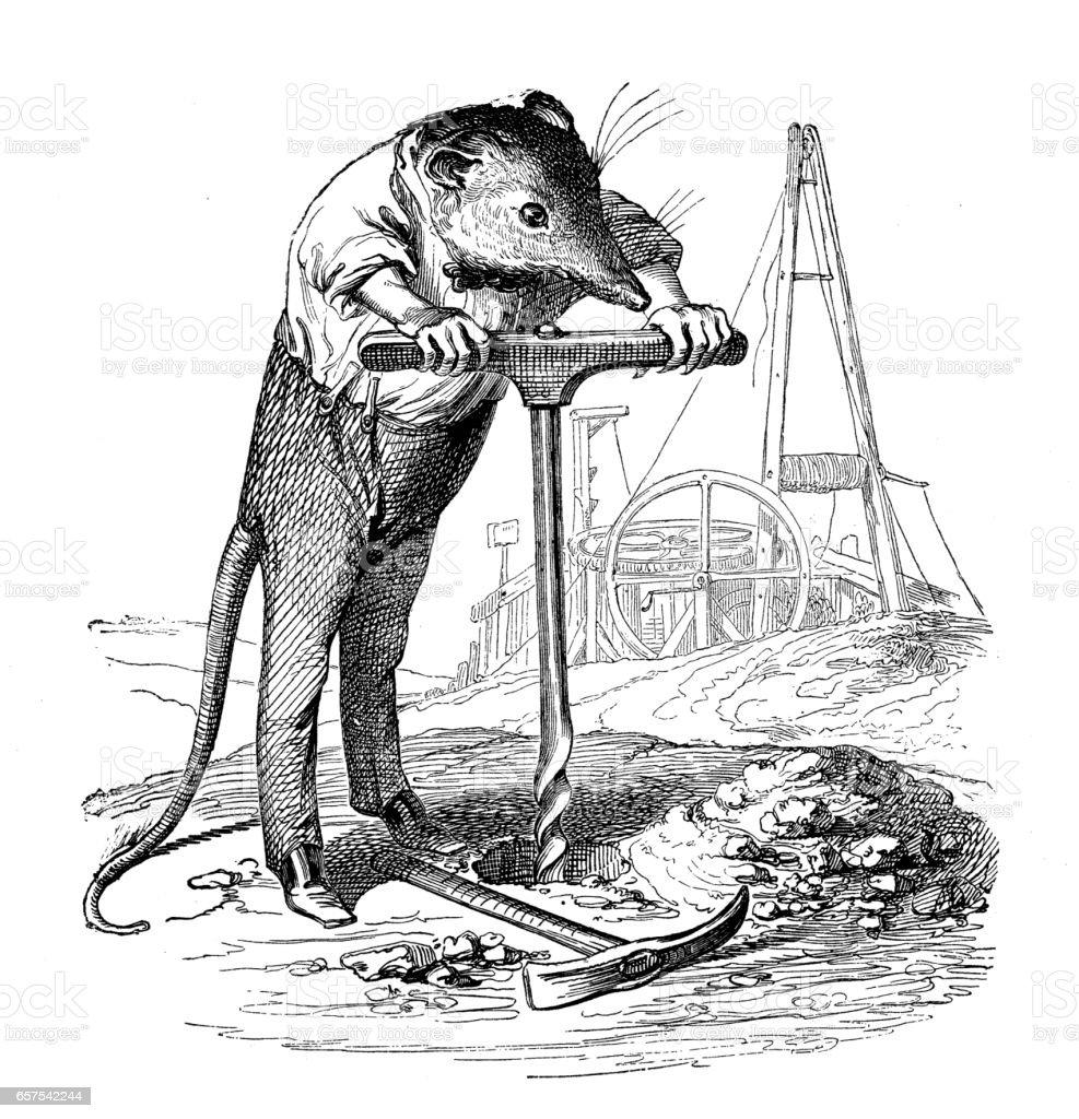 Humanized animals illustrations: Mouse boring vector art illustration