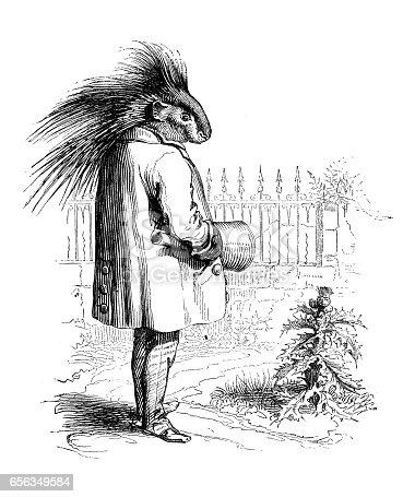 Humanized animals illustrations: Porcupine